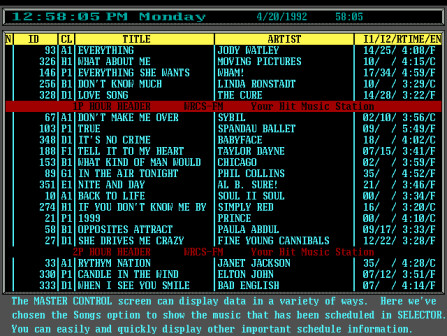A screen shot from the main Scot FM studio computer